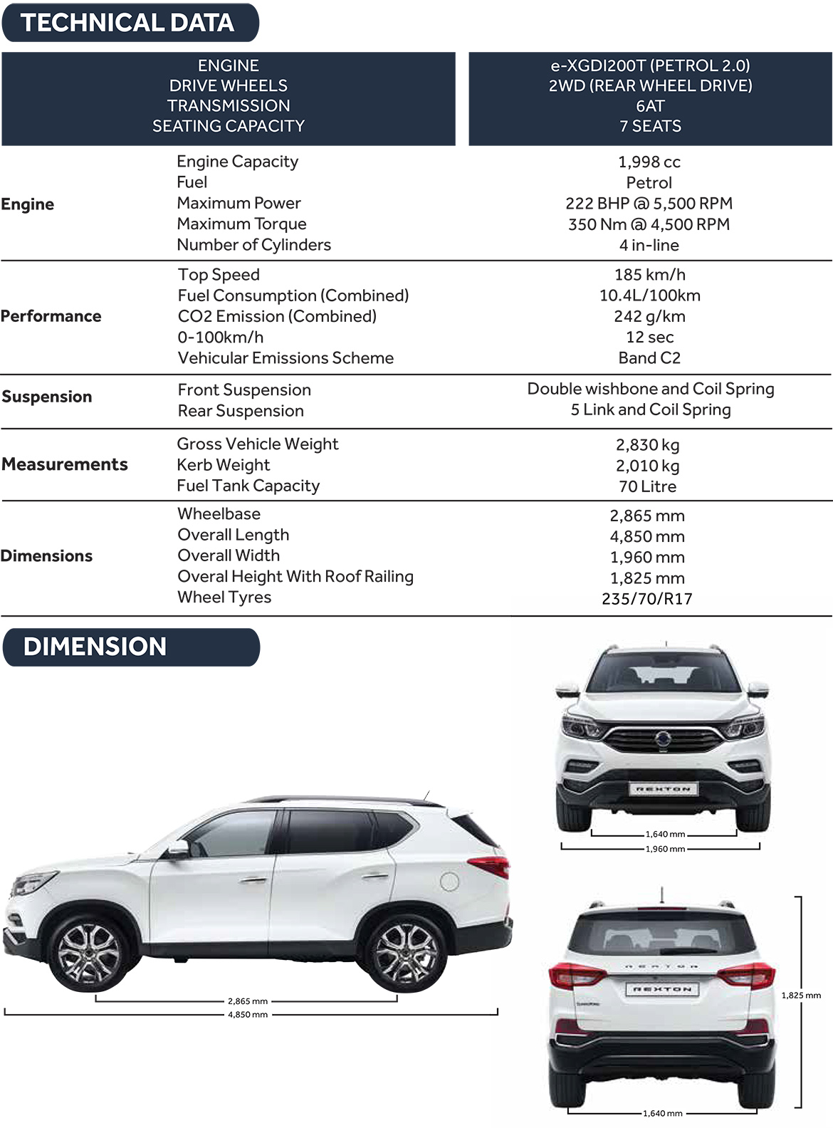 Rexton Specifications